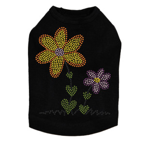 Orange & Purple Flowers dog tank for large and small dogs.