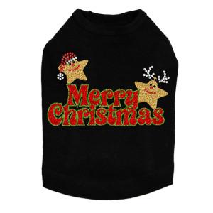Merry Christmas Glitter Stars - Black Dog Tank