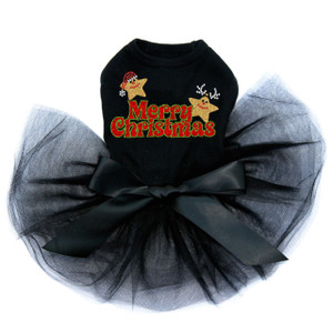 "Merry Christmas Glitter Stars rhinestone dog tutu for large and small dogs. 5"" X 3"" design with red, black, & clear rhinestones and red, green, & gold glitter."