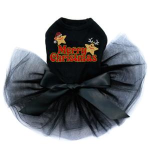 Merry Christmas Glitter Stars - Black Tutu
