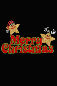 Merry Christmas Glitter Stars - Black Women's T-shirt