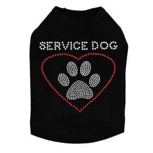 Service Dog rhinestone dog tank for large and small dogs.