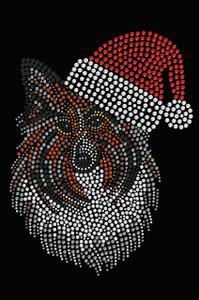 Sheltie Face with Santa Hat - Black Women's T-shirt