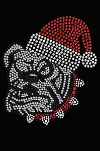 Bulldog Face (White) with Santa Hat - Black Women's T-shirt
