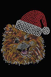 Pomeranian with Santa Hat - Black Women's T-shirt