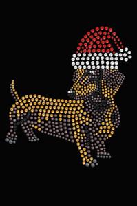 Dachshund # 2 with Santa Hat - Black Women's T-shirt