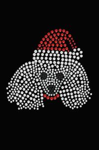 Poodle Face with Santa Hat - Black Women's T-shirt