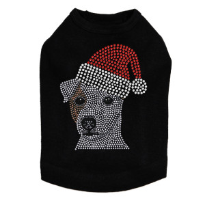 Jack Russell Terrier with Santa Hat Dog Tank