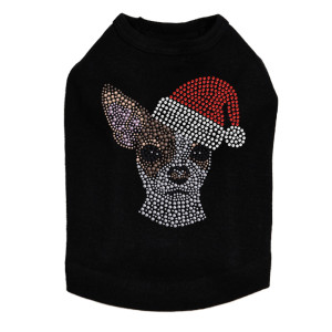 Chihuahua Face with Santa Hat Dog Tank