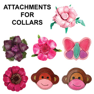 Change up the look of our leather collars with as assortment of leather attachments.    All attachments are hand made of leather.  Attachments have a leather strap that slips over the collar.  Collars can be worn with or without the attachments.