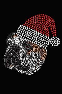 Bulldog Face (Brown) with Santa Hat - Black Women's T-shirt