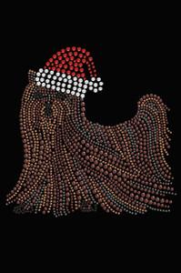 Yorkie with Santa Hat - Black Women's T-shirt