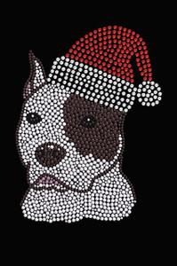 Pit Bull with Santa Hat - Black Women's T-shirt