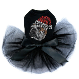 Bulldog Face - Brown with Santa Hat - Tutu for Big and Little Dogs