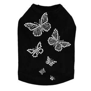 Rhinestone Butterflies dog tank for small and large dogs.