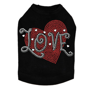 Love red rhinestone heart dog tank for large and small dogs.