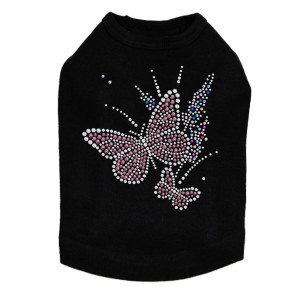 Pink Butterfly with Flowers dog tank for small and large dogs.