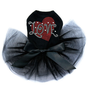 Love red rhinestone heart dog black tutu for large and small dogs.