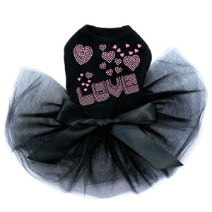 Pink & Purple Love dog black tutu for large and small dogs.