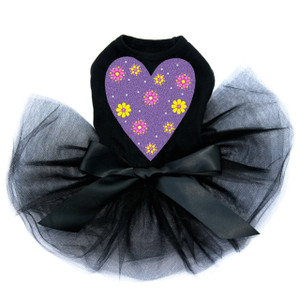 Purple glitter heart with yellow and fuchsia flowers dog black tutu for large and small dogs.