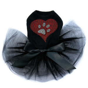 Red heart with rhinestone paw dog black tutu for large and small dogs.