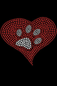 Red heart with rhinestone paw adult t-shirt or tank.