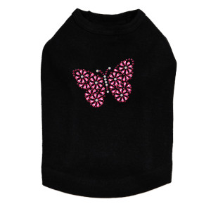 Pink Nailhead Butterfly dog tank for small and large dogs.