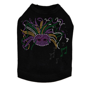 Mardi Gras mask with music notes dog tank for large and small dogs.