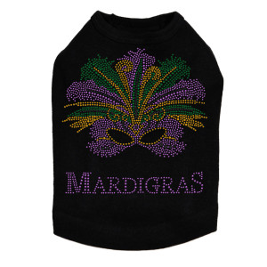 Mardi Gras mask dog tank for large and small dogs.