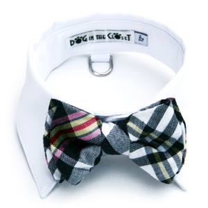 Dark navy and white madras plaid bow tie with white shirt collar.
