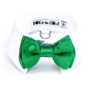 Kelly green bow tie with white shirt collar.