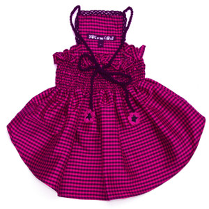 The Lanna Collection - Fuchsia Checked Silk Dress with Crochet Trim