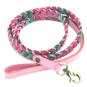 "Handmade leather leash made with shades pink, green, & purple leather and trimmed with light pink leather.  Leashes are 48"" long and available in 5/8"",  3/4"", & 1"" widths.   Please order the same width leash as the width of the collar.  2015 Winner ""Editor Choice Award""  Pet Product News International."