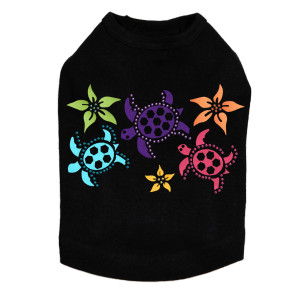 Satin Sea Turtles with Flowers dog tank for small and big dogs