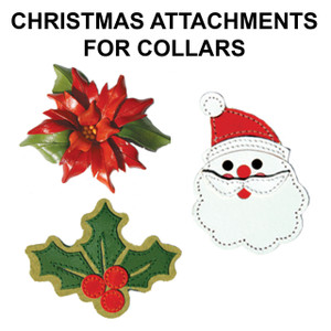 Change up the look of our leather collars with as assortment of Christmas attachments.    All attachments are hand made of leather.  Attachments have a leather strap that slips over the collar.  Collars can be worn with or without the attachments.