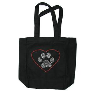 Heart with Paw rhinestone tote bag.