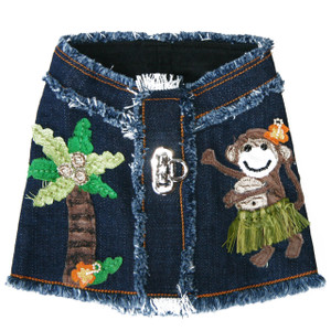 Lahaina Hula Monkey Denim Harness vest front.