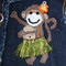 Hand appliques silk hula monkey with hand embroidery, raffia and hand beading.