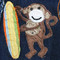 Hand appliqued silk surfer monkey with hand embroidery and beading.