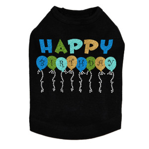 Happy Birthday Balloons (Blue) - Dog Tank