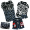 The Diamond Collection - Diva Zebra Dress, Coat, Denim Harness Vest, & Hair bows.