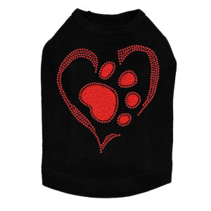 Red Paw Heart - Dog Tank