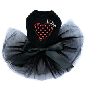 Small Love Polka Dot Heart - Dog Tutu