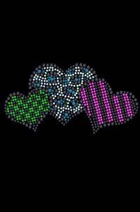 Leopard, Checks, & Stripes Multicolor Hearts - Women's T-shirt