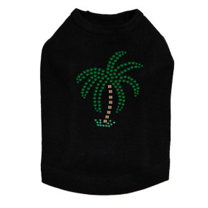 Palm Tree -Green Rhinestones - Small dog tank for small and big dogs