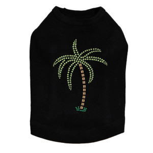 Palm Tree - Green Rhinestones dog tank for small and big dogs