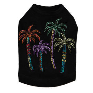 Palm Trees - Multicolor dog tank for small and big dogs