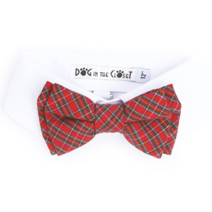 White Shirt Dog Collar with Red Tartan Plaid Bow Tie
