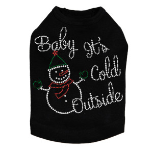 """""""Baby It's Cold Outside"""" Snowman - Black Dog Tank"""