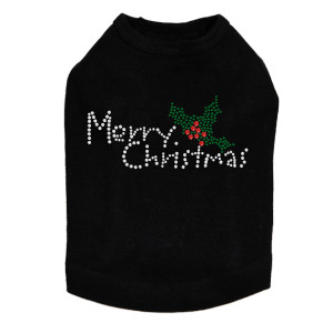 Merry Christmas with Holly - Black Dog Tank